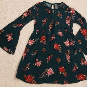Girls Green/Floral Print Dress SM 4/5